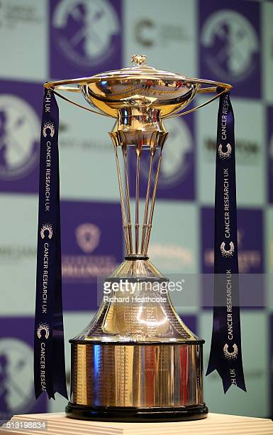 The Boat Race Trophy is displayed during The 2016 Cancer Research UK Boat Races Crew Announcement at Central Hall on March 1 2016 in London England