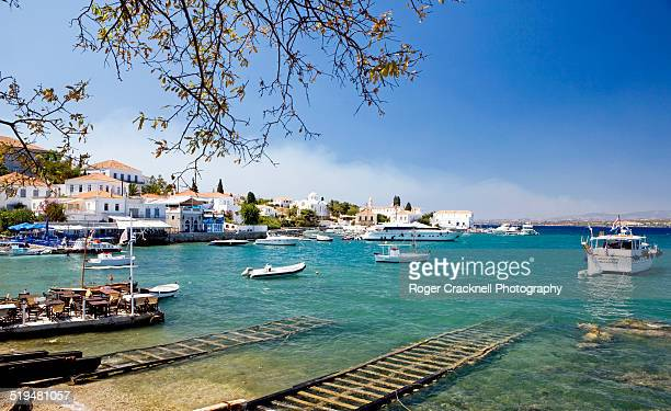 the boatbuilding harbour spetses greece - spetses stock pictures, royalty-free photos & images