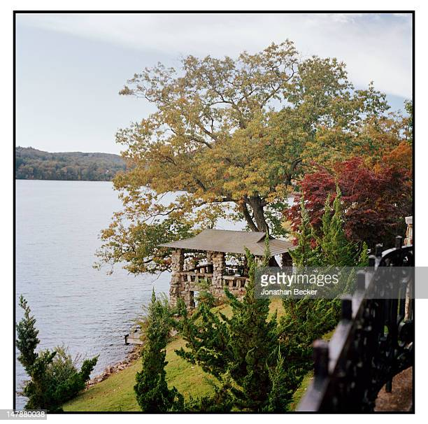 The boathouse of the Hacienda is photographed for Town & Country Magazine on September 8, 2011 in Tuxedo Park, New York. PUBLISHED IMAGE.