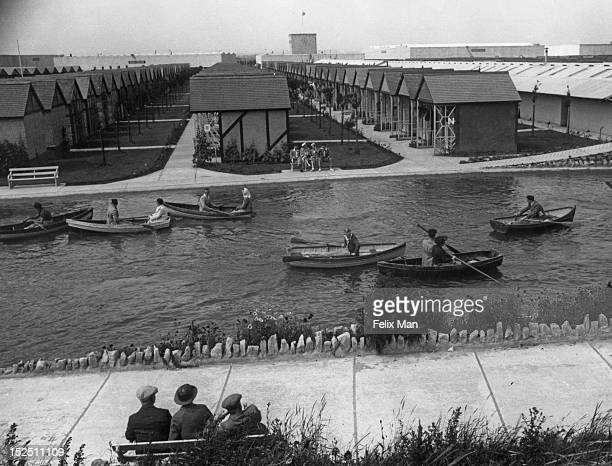 The boating pond at Butlin's Holiday Camp Skegness 1939 Original Publication Picture Post 193 Holiday Camp pub 5th August 1939