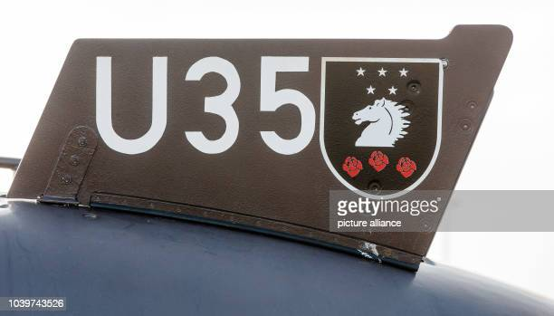 The boat's name 'U35' and the ships crest of the German Navy's newest submarine pictured during the commissioning ceremony in Eckernfoerde Germany 23...