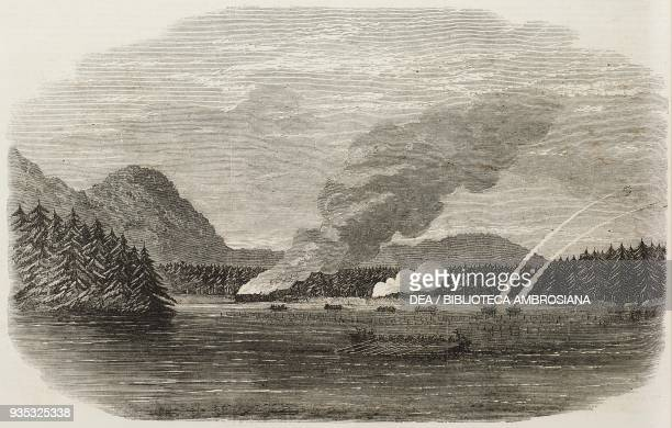 The boats of HMS Sutlej and Devastation attacking a native village Clayoquot Sound Vancouver Island Canada illustration from the magazine The...