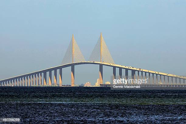 the bob graham sunshine skyway bridge - sunshine skyway bridge stock photos and pictures