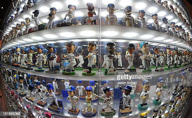 The Bobble Head Museum at Marlins Park is shown during a game between the Miami Marlins and the Cincinnati Reds on September 14 2012 in Miami Florida