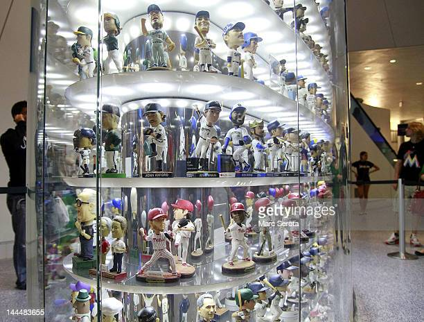 The Bobblehead Museum displays moving bobbleheads prior to a game between the Florida Marlins and the New York Mets at Marlins Park on May 11 2012 in...