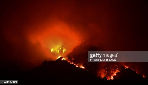 The Bobcat Fire breaks atop the San Gabriel Mountains, north of Monrovia on September 9 as the raging fires in the Angeles National Forest grew to...