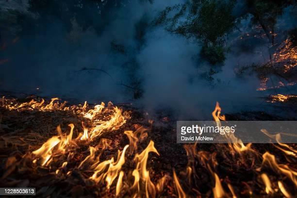 The Bobcat Fire burns near homes on September 13, 2020 in Arcadia, California. California wildfires that have already incinerated a record 2.3...