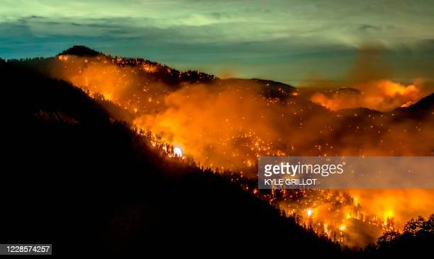 The Bobcat Fire continues to burn through the Angeles National Forest in Los Angeles County, north of Azusa, California, September 17, 2020. -...