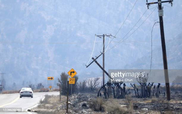 The Bobcat Fire damaged power lines on Longview Road in Juniper Hills Photographed on Sunday Sept 20 2020