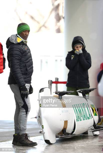The Bobsled of Jamaica is seen during the Women's Bobsleigh training at Olympic Sliding Centre on February 17 2018 in Pyeongchanggun South Korea