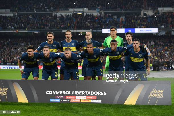 The Boca Juniors players pose for a team photo prior to the second leg of the final match of Copa CONMEBOL Libertadores 2018 between Boca Juniors and...