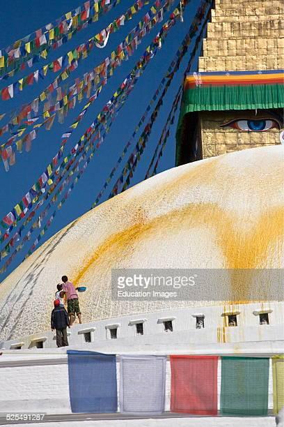 The Bodhanath Stupa Is Painted With Saffron Water On A Regular Basis, Kathamandu, Nepal.