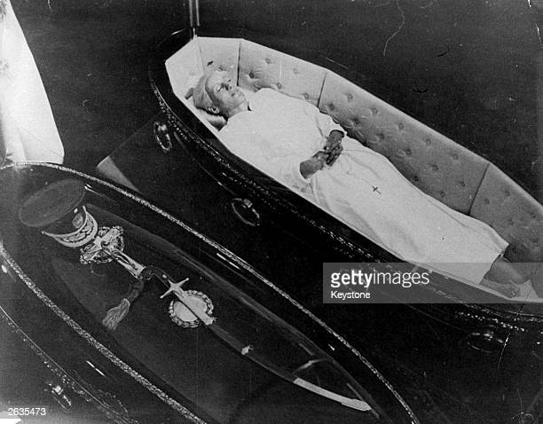 The bodies of Argentinian President Juan Domingo Peron and his first wife Eva Peron known as Evita at the Presidential Residence in Buenos Aires...