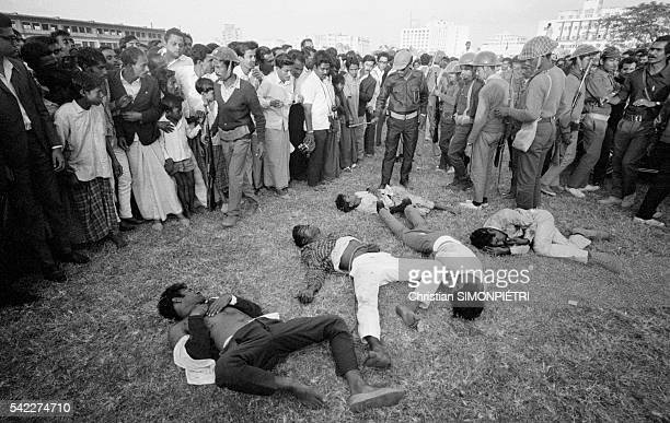 Bodies of proPakistani militia members following their execution at a Dhaka racecourse during the war for Bangladeshi independence