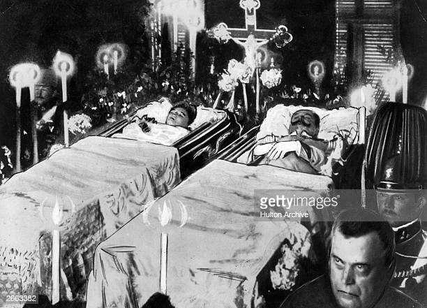 The bodies of Franz Ferdinand Archduke of Austria and his wife Sophie lie in state after their assassination at Sarajevo Original Publication People...