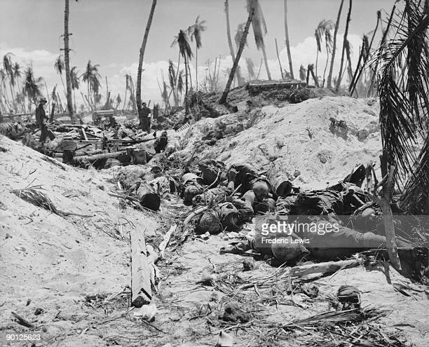 The bodies of Japanese soldiers killed in an American machine gun attack during the Battle of Tarawa a Pacific atoll in the Gilbert Islands 20th23rd...