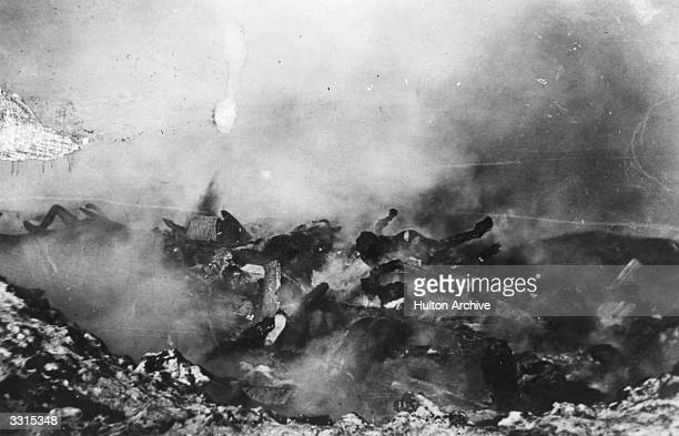 The bodies of plague victims in Manchuria are burned on a huge pyre