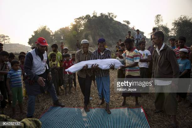 COX'S BAZAR BANGLADESH JANUARY 12 The bodies of Rohingya refugee are carried for burial in Balukhali camp on January 12 2018 in Cox's Bazar...