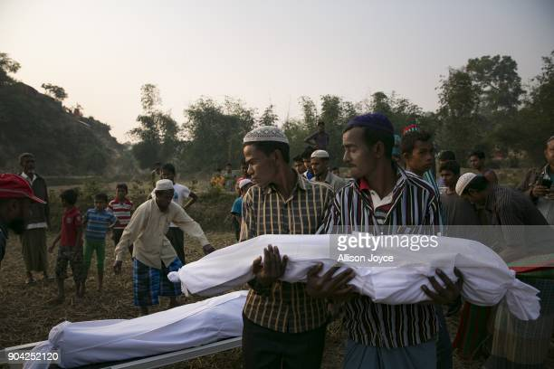 COX'S BAZAR BANGLADESH JANUARY 12 The bodies of Rohingya refugees are carried for burial in Balukhali camp on January 12 2018 in Cox's Bazar...