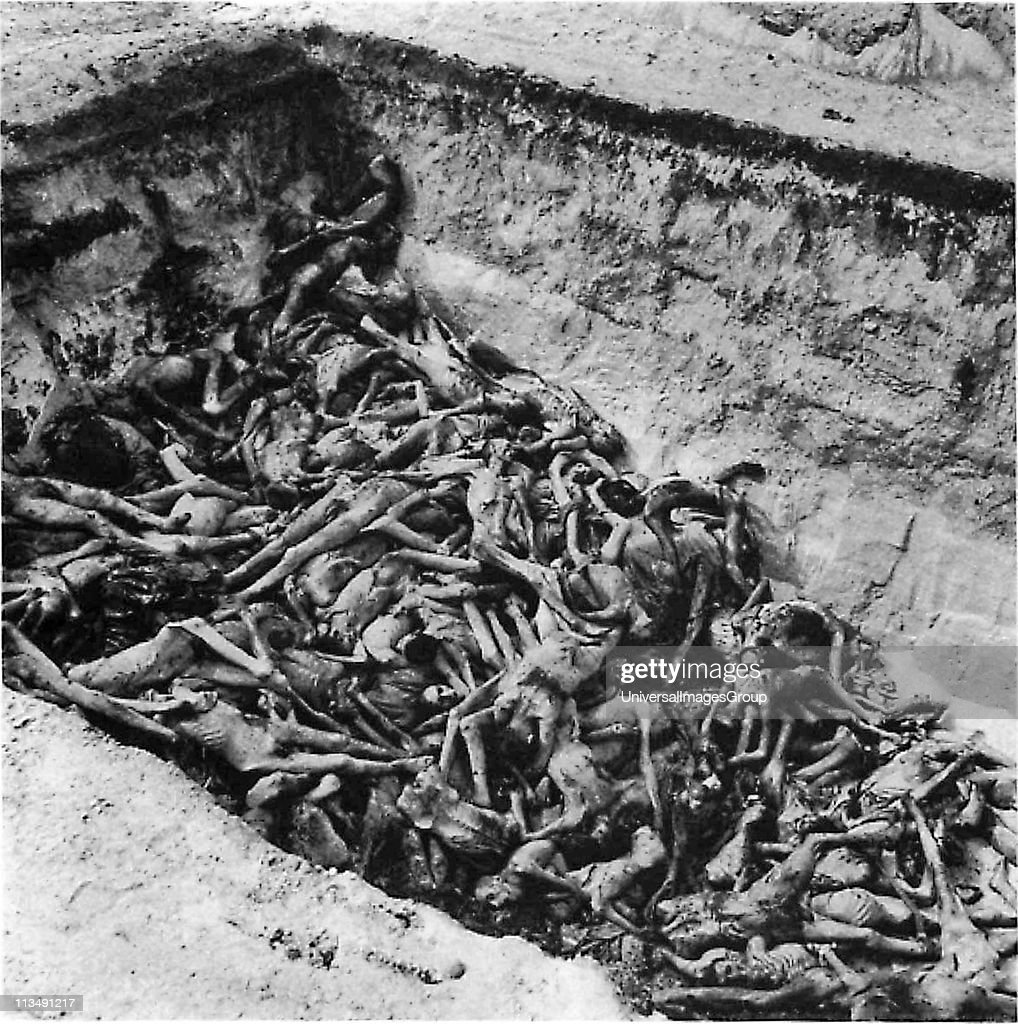 The bodies of the dead lie awaiting burial in a mass grave at the camp at Bergen-Belsen, the Nazi concentration camp in northwest Germany. ... : News Photo
