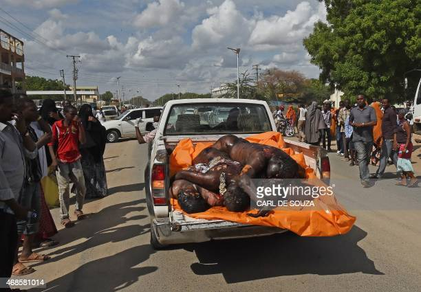 CONTENT = The bodies of the suspected attackers on the Garissa university are paraded in front of the public as a vehicle drives through the main...