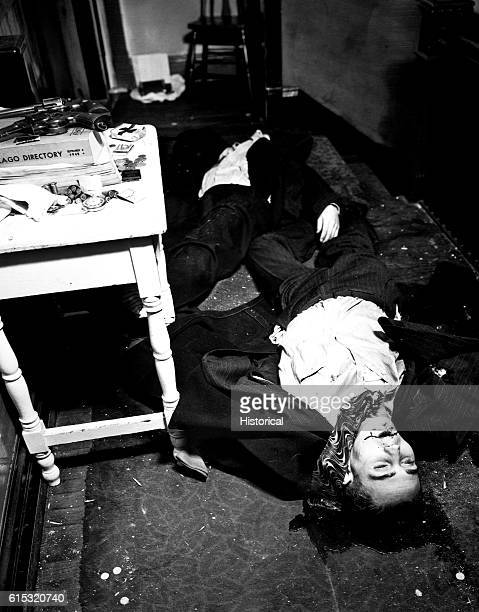 The bodies of two gangsters killed in the Touly Gang Shoot Out in Chicago Illinois