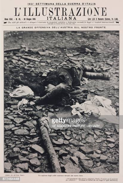 The body of a captain of the Austrian Arditi in front of the Italian lines Battle of Piave Italy World War I from l'Illustrazione Italiana Year XLV...