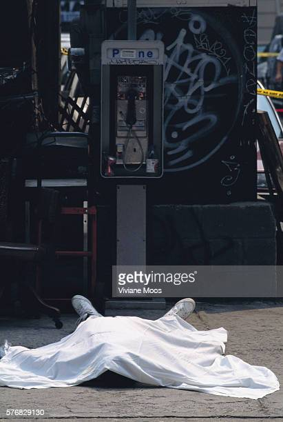 The body of a murder victim shot by serial killer Darnell Collins lies on a New York City sidewalk covered by a bed sheet Collins killed seven people...