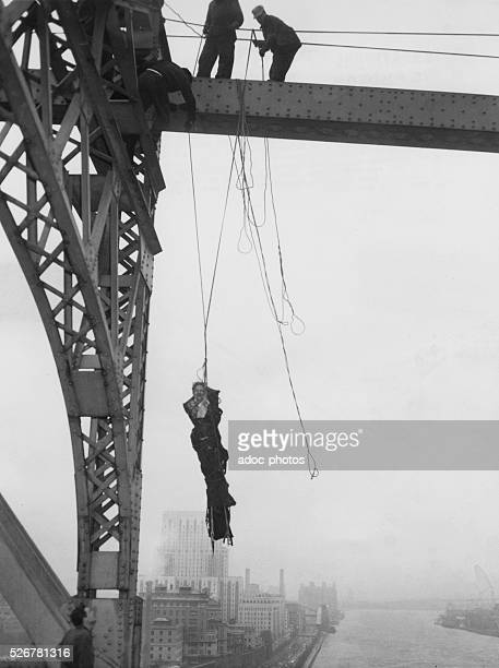 The body of a suicide by hanging recovered by police Ca 1950
