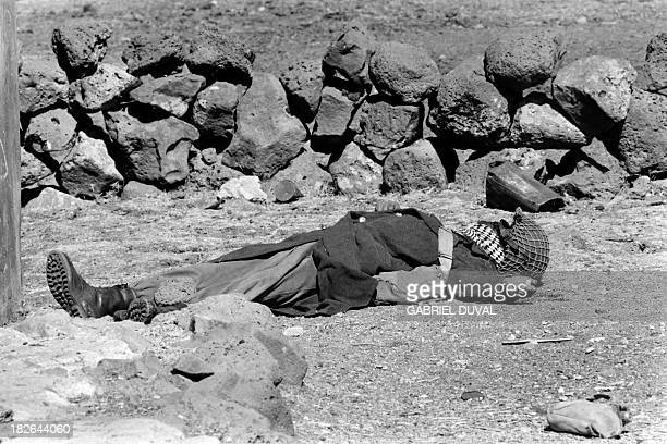 The body of a Syrian soldier lies in October 1973 near the Syrian front lines on the Golan Heights two weeks after the beginning of the Yom Kippur...