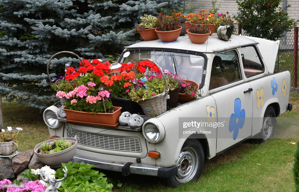 Trabi as flower tub Pictures   Getty Images
