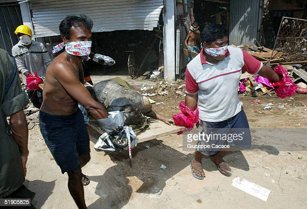 The body of a tsunami victim found inside a shop in the central market is carried away December 31, 2004 in Galle, Sri Lanka. The death toll from the...