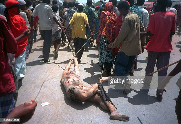 The body of a US soldier killed 03 October 1993 is dragged with ropes through the streets of Mogadishu 04 October 1993 A senior UN official confirmed...