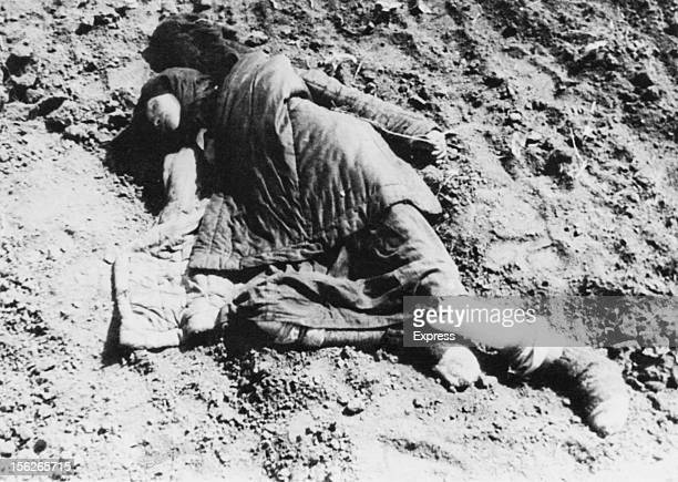 The body of a young woman near Poltava during the manmade Holodomor famine in the Ukraine former Soviet Union Spring 1934