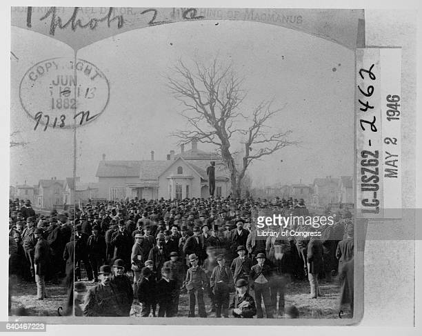 The body of an African American man named MacMannus hangs from a tall tree above a huge crowd of caucasian men Minneapolis Minnesota