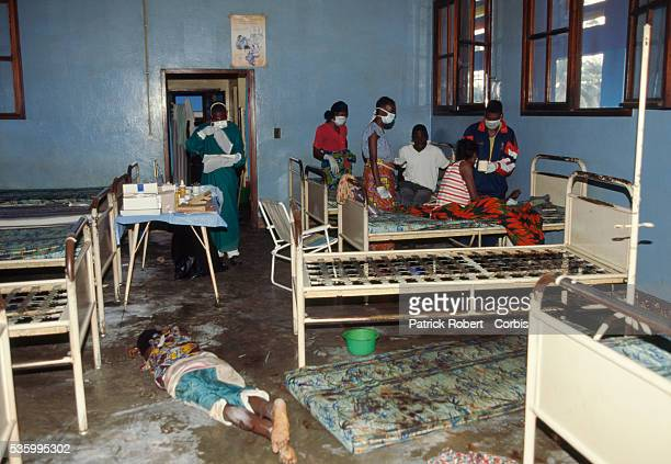 The body of an Ebola virus victim lies on the floor of a ward in Kikwit General Hospital among stripped beds and filthy mattresses The 1995 Ebola...