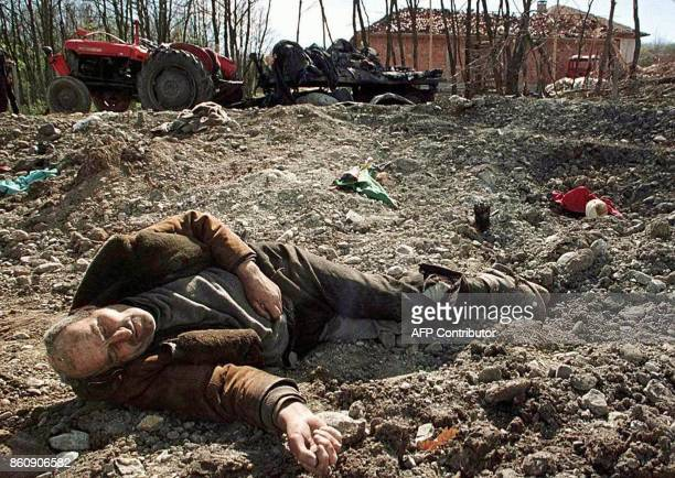 The body of an ethnic Albanian refugee claimed by Yugoslavian authorities to have been killed in a NATO air raid on an Albanian refugee convoy in the...
