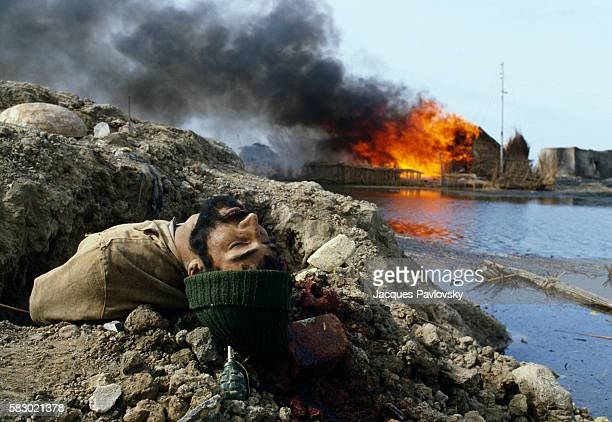 The body of an Iranian soldier following combat that took place in Al Beida in Iraq in 1984 The war between Iran and Iraq broke out in 1980 and...