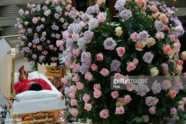 The body of Aretha Franklin lies in repose at the Charles H Wright Museum of AfricanAmerican History on August 28 2018 in Detroit Michigan Franklin...