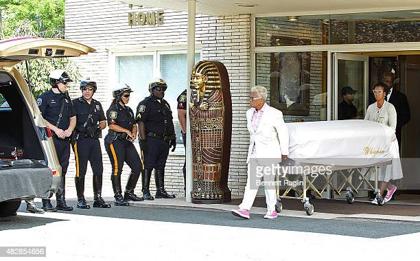 The body of Bobbi Kristina Brown leaves Whigham Funeral Home following a funeral service on August 3, 2015 in Newark, New Jersey. Bobbi Kristina...