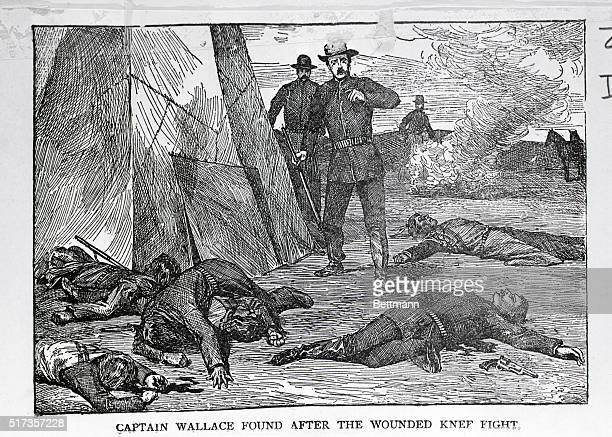 The body of Captain Wallace found after the Battle of Wounded Knee Creek SD on December 19 1890 Engraving