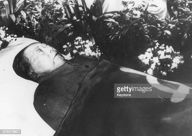 The body of Chairman Mao TseTung lying in state in the Great Hall of the People in Peking September 14th 1976