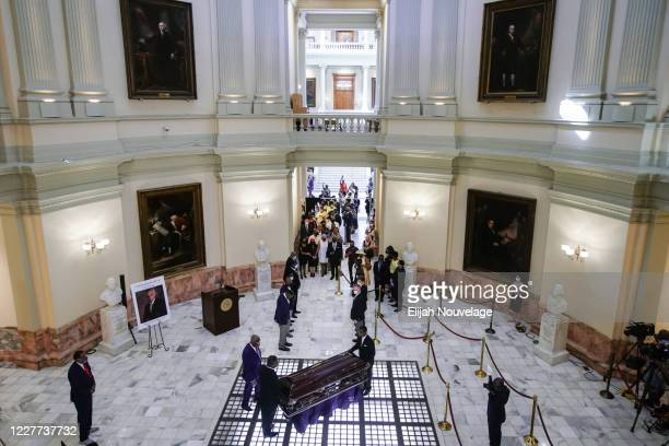 The body of civil rights leader C.T. Vivian arrives to lay in state in the Georgia Capitol building on July 22, 2020 in Atlanta, Georgia. Rev. Cordy...