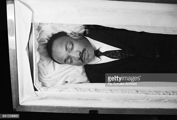 The body of civil rights leader Martin Luther King Jr lies in state for mourners to pay respects