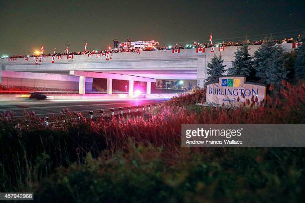 TORONTO ON OCTOBER 24 The body of Cpl Nathan Cirillo the young soldier killed in Ottawa on Wednesday travels past Apppleby Line along the 407 ETR in...