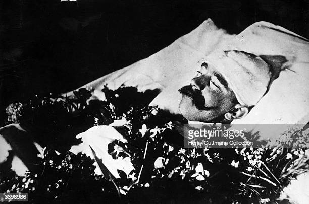 The body of Crown Prince Rudolf of Austria , only son of Emperor Franz Josef, lying in state after his reputed suicide. His body was found with that...
