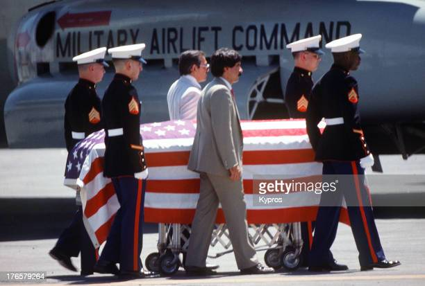 The body of DEA officer Enrique Camarena leaves Guadalajara Mexico en route to California for his funeral 9th March 1985 Camarena was tortured and...