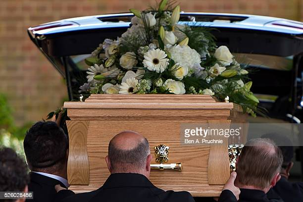 The body of entertainer, producer and reality television star David Gest is carried into Golders Green Crematorium on April 29, 2016 in London,...