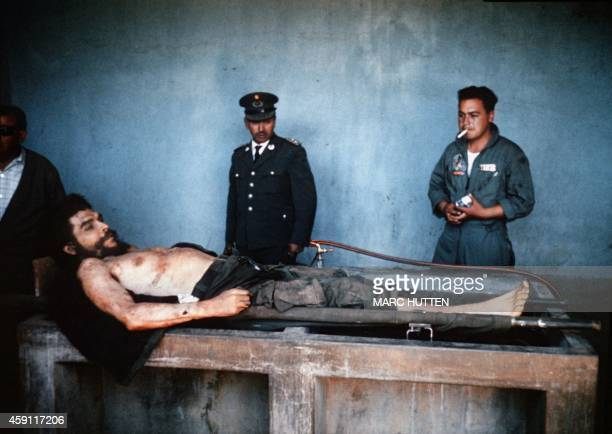 "The body of Ernesto ""Che"" Guevara, the Argentine-born hero of Latin American revolutionaries and six other guerillas are on public display 10 October..."