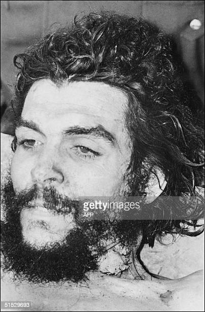 """The body of Ernesto """"Che"""" Guevara , the Argentine-born hero of Latin American revolutionaries is on public display in the makeshift morgue 10 October..."""
